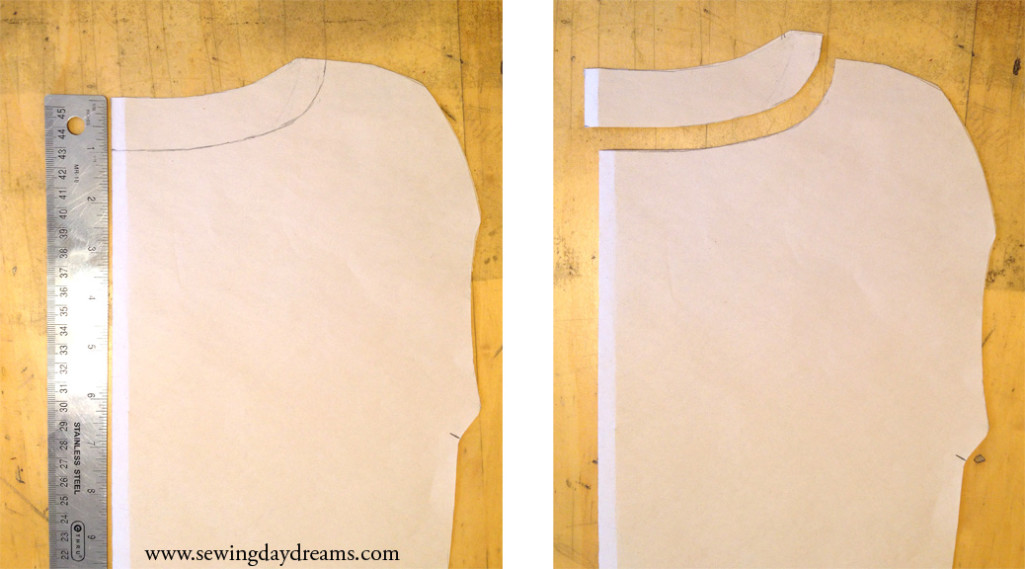 Cutting the back neckline.