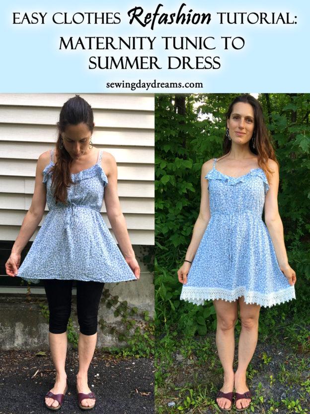 3dcb5d5a56b98 DIY - Clothes Refashion Tutorial: Maternity Tunic to Summer Dress ...